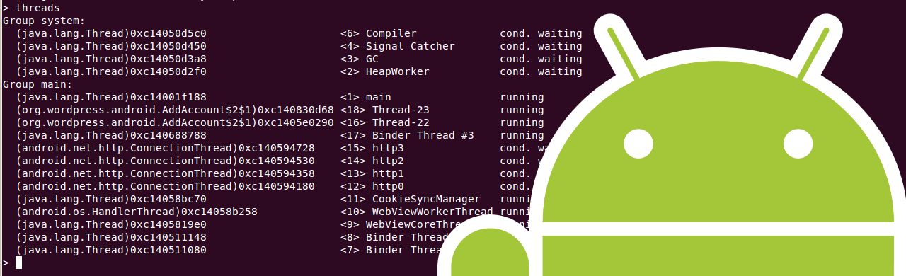 Command Line Android Application Debugging