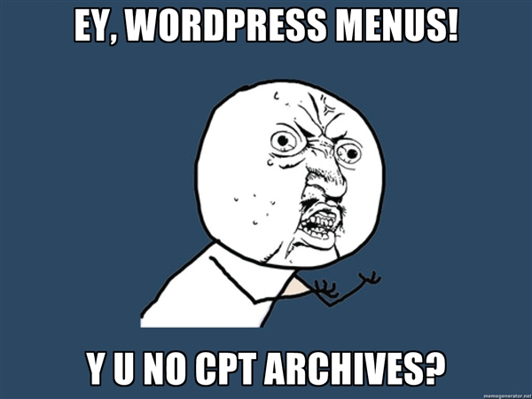 WordPress Custom Post Type Archives in Menu
