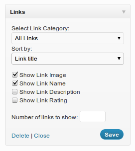 Sort and Limit Links Widget