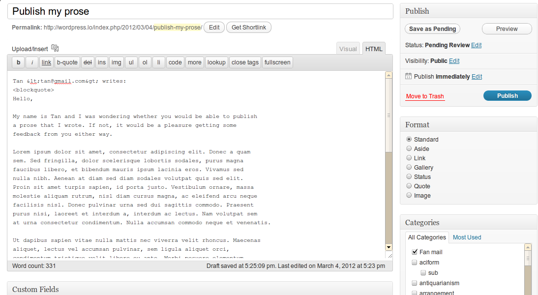 Generate WordPress Posts From Fan Mail