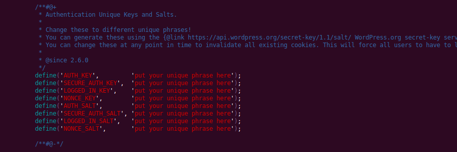 WordPress Authentication Keys and Salts