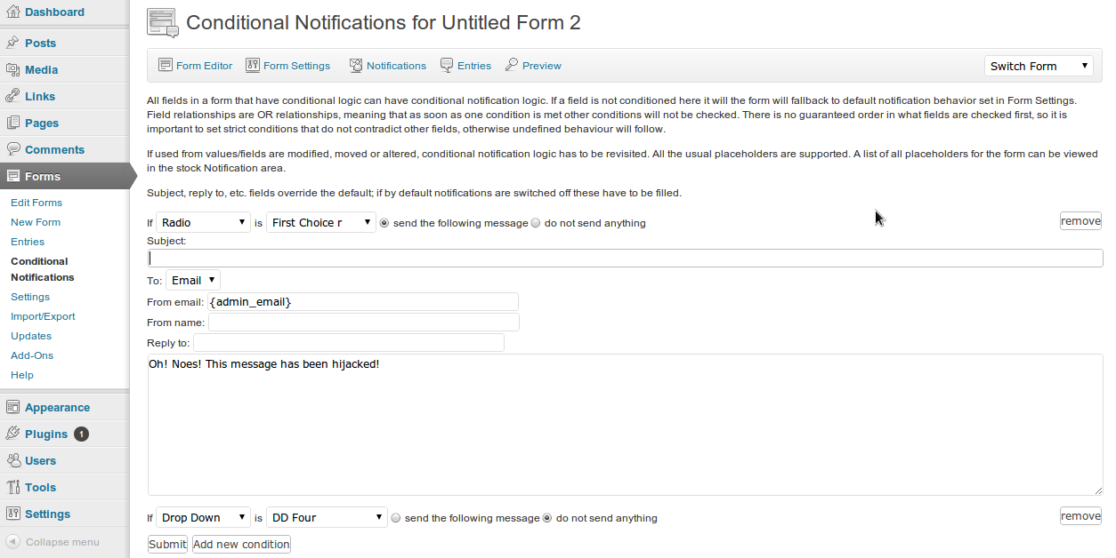 Gravity Forms Conditional Notifications