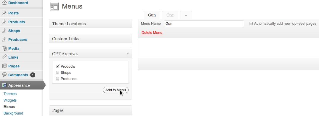 WordPress Custom Post Type Archive Menu