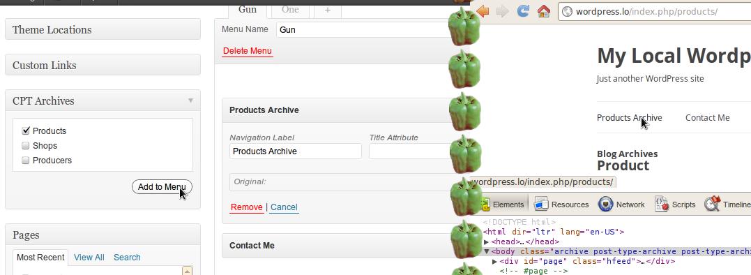 WordPress Custom Post Type Archives Menu Hack