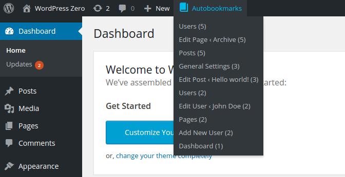WordPress Dashboard Autobookmarks